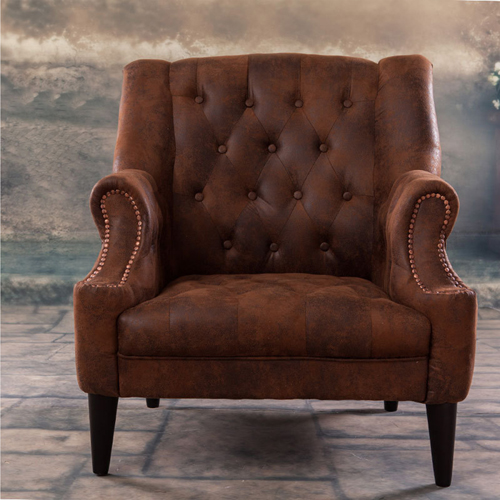 Classic Button Tufted Leather Chair Image 2