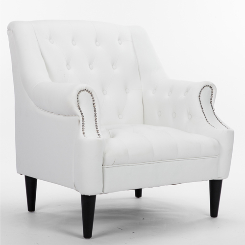 Classic Button Tufted Leather Chair Image 6