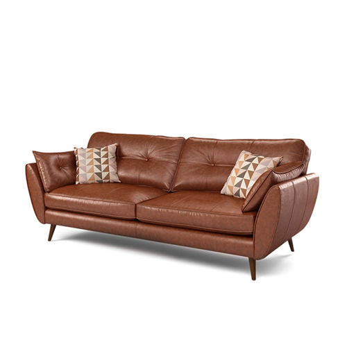 Zinc Four Seater Leather Sofa Image 11