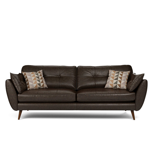 Zinc Four Seater Leather Sofa Image 13