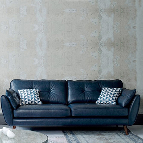 Zinc Four Seater Leather Sofa Image 16