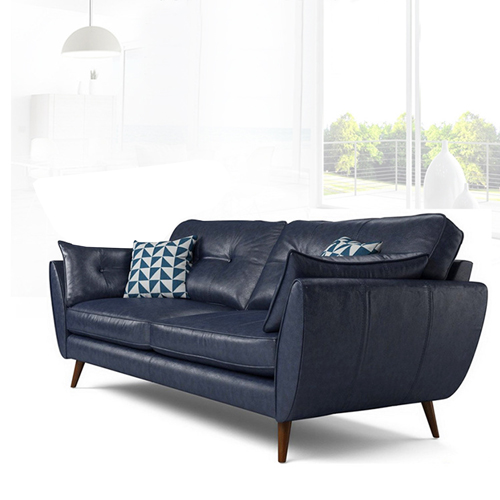 Zinc Four Seater Leather Sofa Image 4