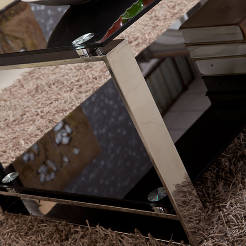Double Stainless Steel Glass Table Image 9