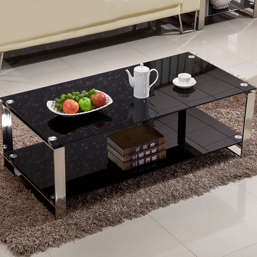 Double Stainless Steel Glass Table Image 1