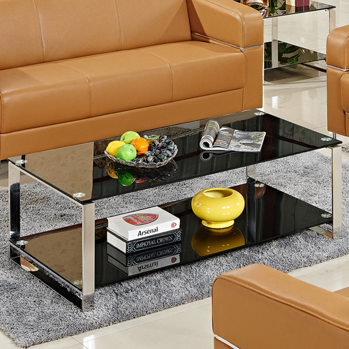 Double Stainless Steel Glass Table Image 5