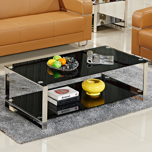 Double Stainless Steel Glass Table