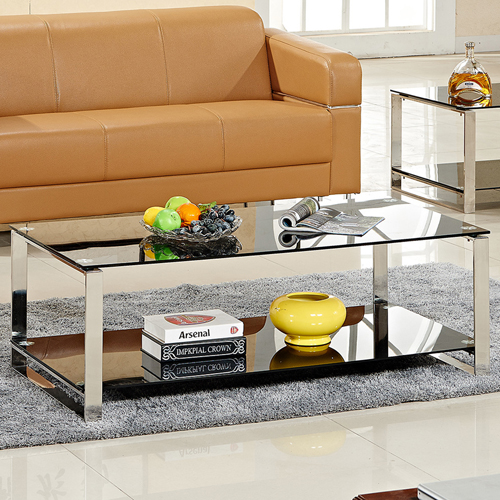Double Stainless Steel Glass Table Image 6