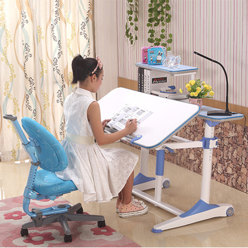 Integrated Height Adjustable Study Table With Shelf Image 3