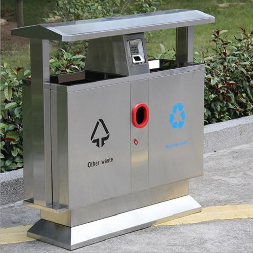 Stainless Steel Double Barrel Trash Bin Image 1