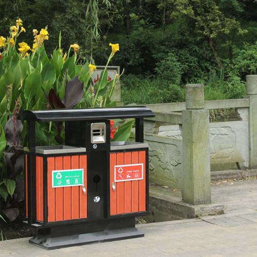 Outdoor Steel Wooden Trash Bin Image 5