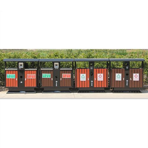 Outdoor Steel Wooden Trash Bin Image 8