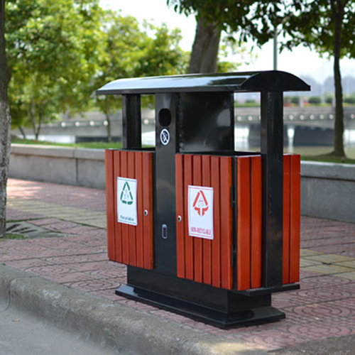 Outdoor Steel Wood Double Sanitation Trash Image 9