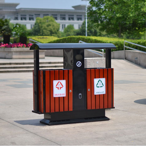 Outdoor Steel Wood Double Sanitation Trash Image 10