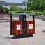 Outdoor Steel Wood Double Sanitation Trash Image 10