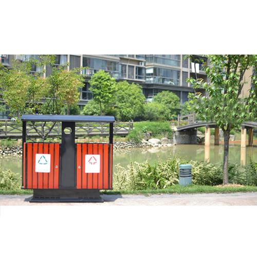 Outdoor Steel Wood Double Sanitation Trash Image 11