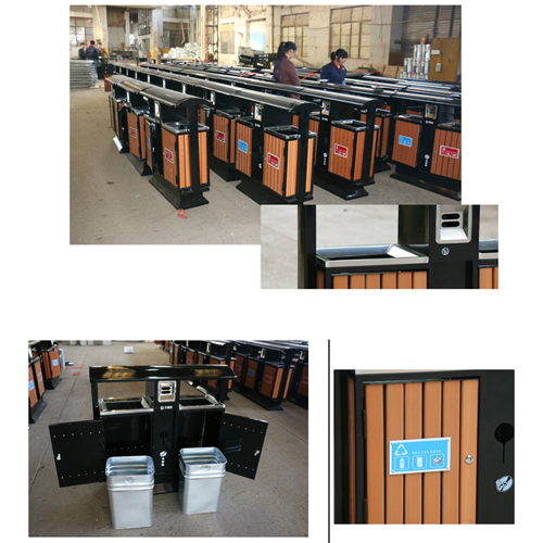 Outdoor Steel Wood Double Sanitation Trash Image 12