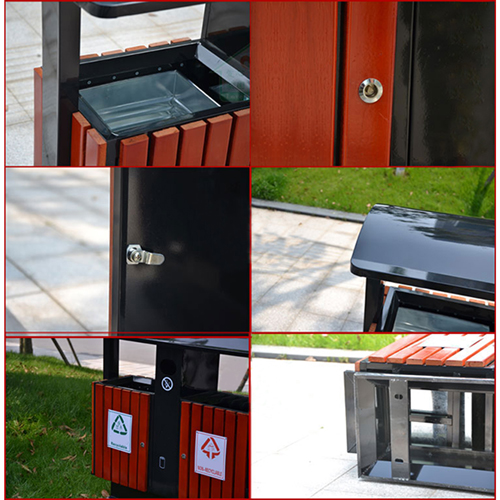 Outdoor Steel Wood Double Sanitation Trash Image 13
