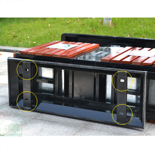 Outdoor Steel Wood Double Sanitation Trash Image 15