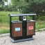 Outdoor Steel Wood Double Sanitation Trash Image 1