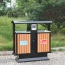 Outdoor Steel Wood Double Sanitation Trash
