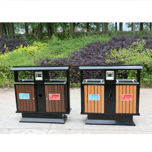 Outdoor Steel Wood Double Sanitation Trash Image 2