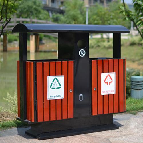 Outdoor Steel Wood Double Sanitation Trash Image 5