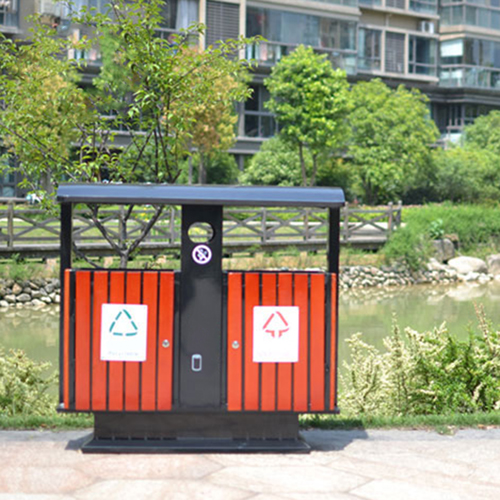Outdoor Steel Wood Double Sanitation Trash Image 8