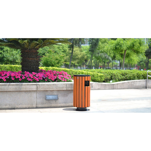 Round Wooden Outdoor Trash Can Image 10