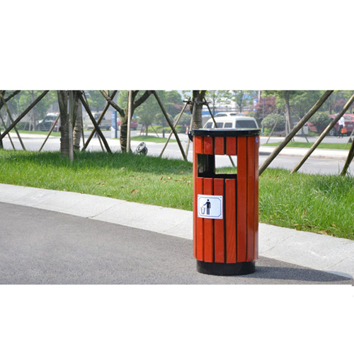Round Wooden Outdoor Trash Can Image 11