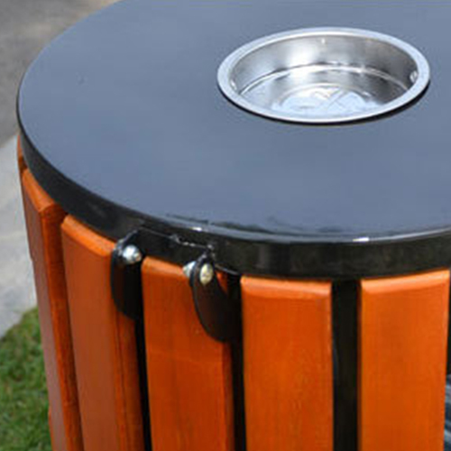 Round Wooden Outdoor Trash Can Image 12
