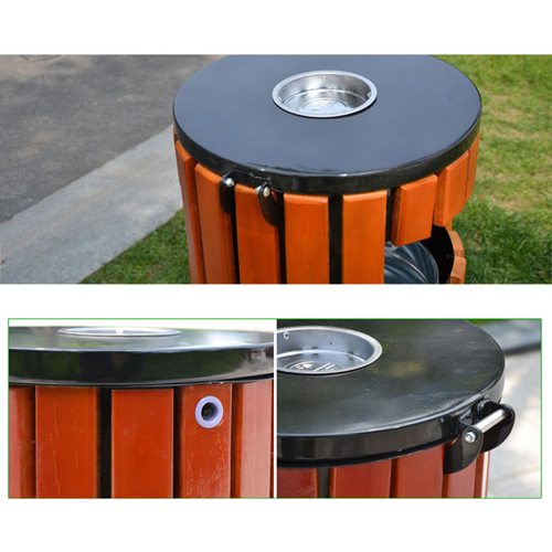 Round Wooden Outdoor Trash Can Image 13