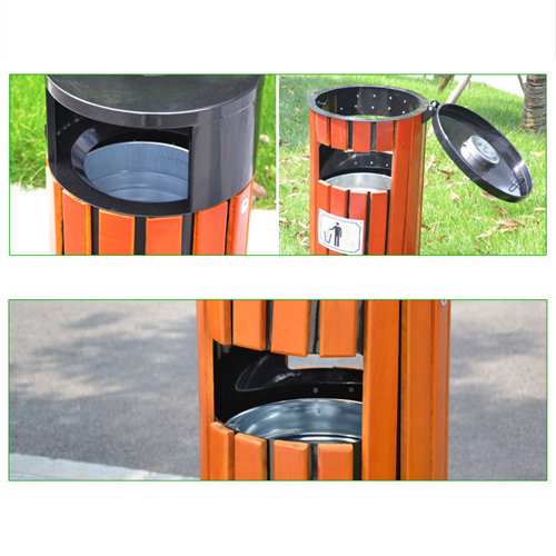 Round Wooden Outdoor Trash Can Image 14
