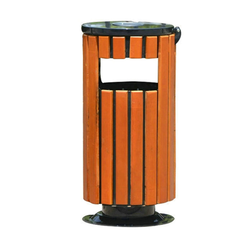 Round Wooden Outdoor Trash Can