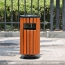 Round Wooden Outdoor Trash Can Image 1