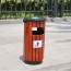 Round Wooden Outdoor Trash Can Image 2