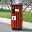 Round Wooden Outdoor Trash Can Image 3