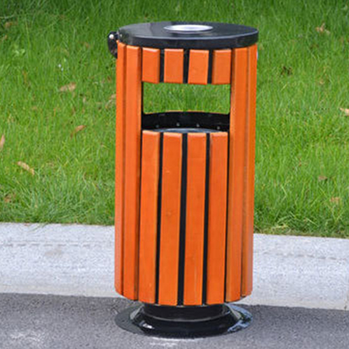 Round Wooden Outdoor Trash Can Image 5
