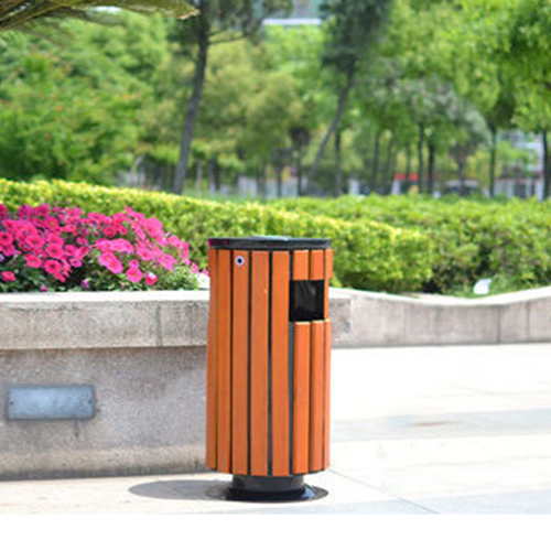 Round Wooden Outdoor Trash Can Image 6