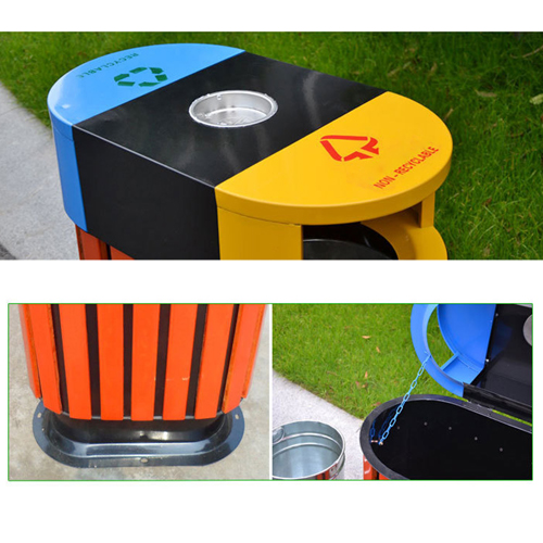 Wooden Outdoor Waste Bin with Ashtrays Image 10