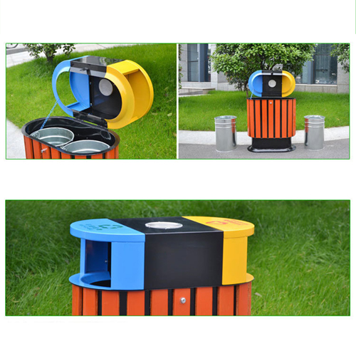 Wooden Outdoor Waste Bin with Ashtrays Image 11