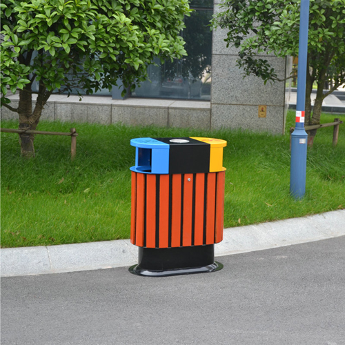 Wooden Outdoor Waste Bin with Ashtrays Image 1