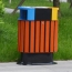 Wooden Outdoor Waste Bin with Ashtrays Image 3
