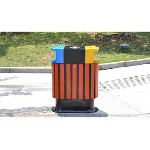 Wooden Outdoor Waste Bin with Ashtrays Image 5