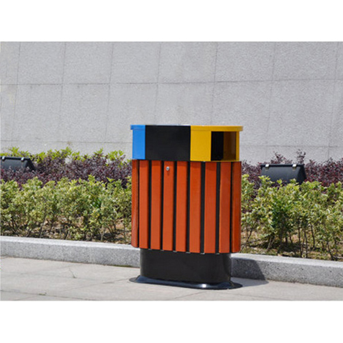 Wooden Outdoor Waste Bin with Ashtrays Image 6