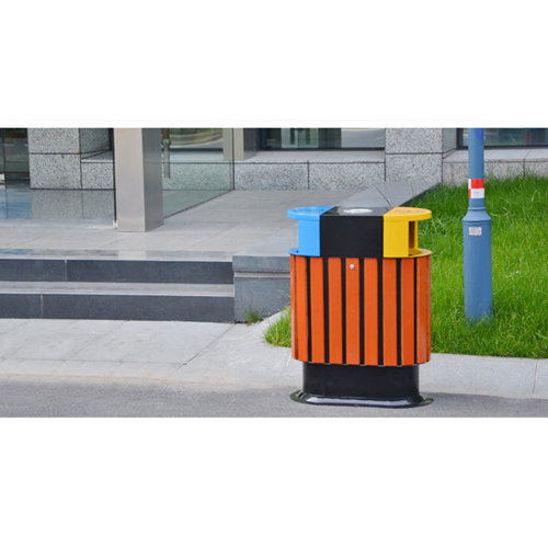 Wooden Outdoor Waste Bin with Ashtrays Image 8
