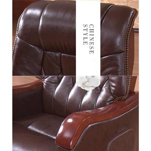 Reclining Backrest Office Chair With Wood Footbase Image 9