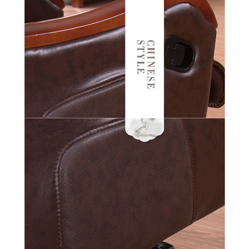 Reclining Backrest Office Chair With Wood Footbase Image 10