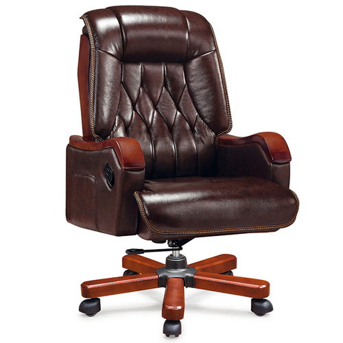 Reclining Backrest Office Chair With Wood Footbase