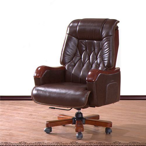 Reclining Backrest Office Chair With Wood Footbase Image 1