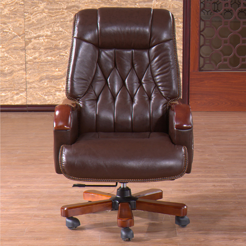 Reclining Backrest Office Chair With Wood Footbase Image 2